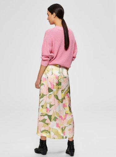 Zeleno-růžová květovaná midi sukně Selected Femme Mola