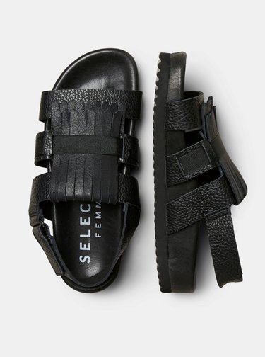 Černé kožené sandály Selected Femme Kiltie