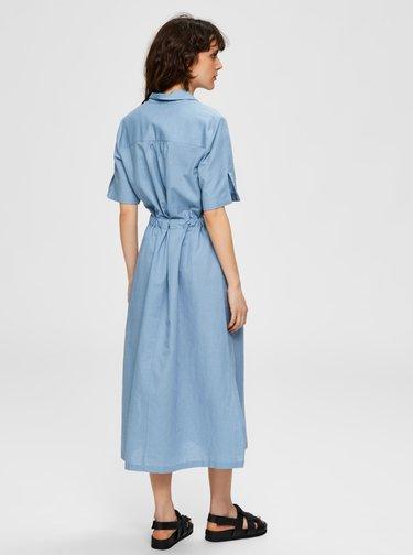 Modré košeľové ľanové midišaty Selected Femme Cally