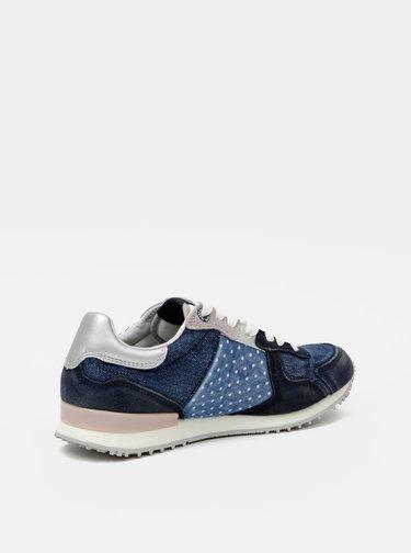 Modré dámske tenisky so semišovými detailmi Pepe Jeans