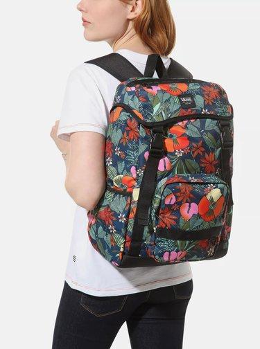 Červeno-modrý květovaný batoh VANS 22 l
