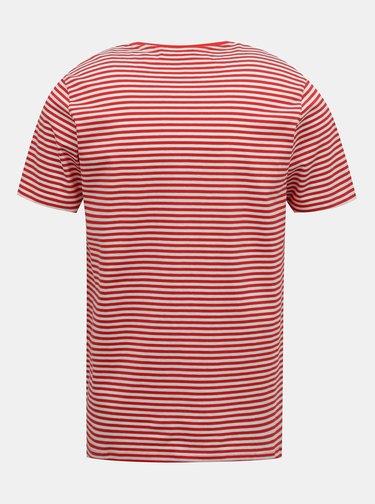 Červené pruhované tričko Selected Homme