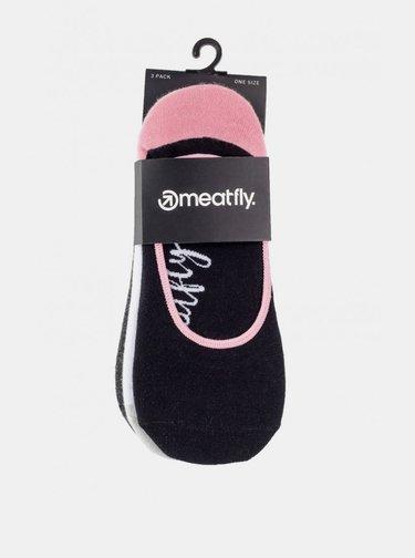 Sada tří párů dámských nízkých ponožek v bílé, černé a šedé barvě Meatfly