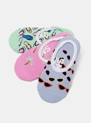 Sada třech párů holčičích ponožek v růžové a modré barvě VANS