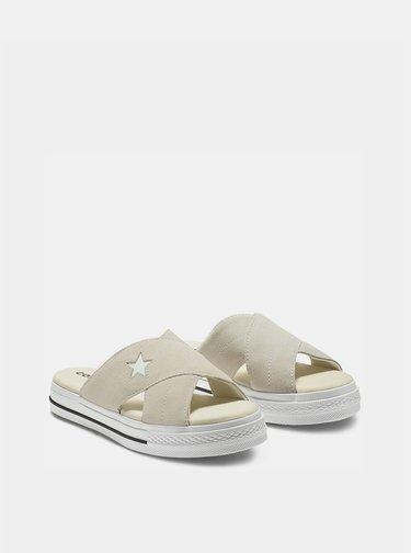 Béžové dámské semišové pantofle na platformě Converse One Star