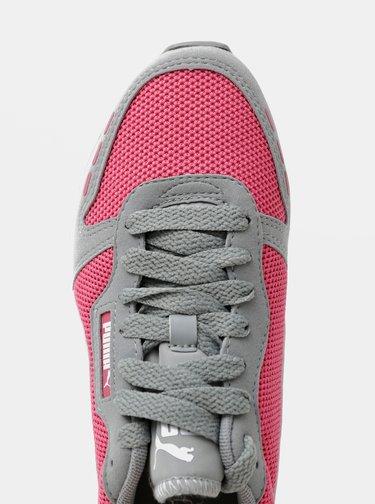 Šedo-ružové dámske tenisky so semišovými detailmi Puma