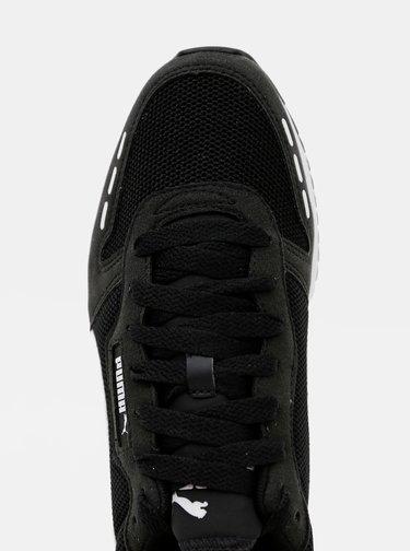 Bílo-černé pánské tenisky se semišovými detaily Puma