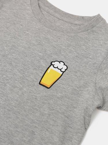 Šedé dětské tričko ZOOT Kids Malý pívo