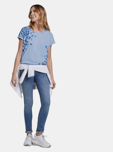 Modré dámské vzorované tričko Tom Tailor