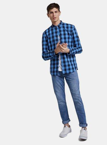 Modrá pánská kostkovaná košile Tom Tailor Denim