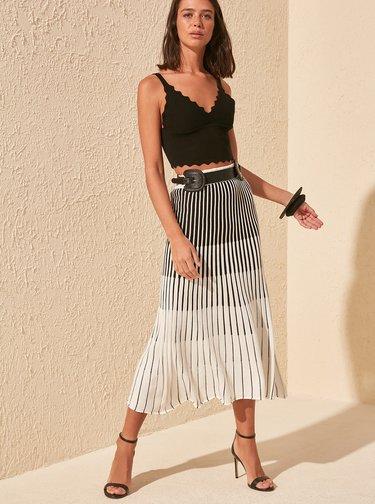 Černo-bílá vzorovaná midi sukně Trendyol