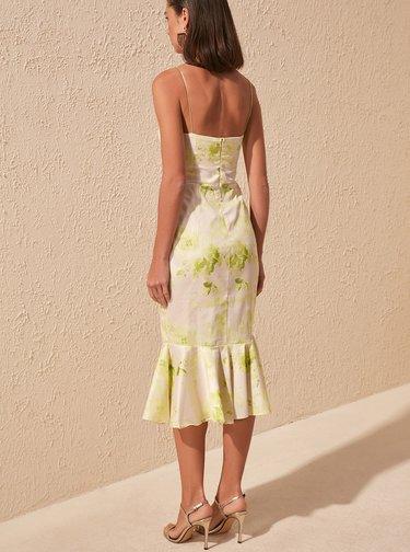 Krémové vzorované šaty Trendyol
