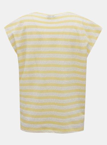 Bílo-žluté pruhované basic tričko VERO MODA Osra
