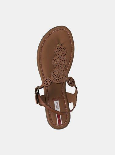 Hnedé dámske kožené sandále s.Oliver