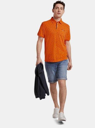 Oranžové pánské vzorované polo tričko Tom Tailor
