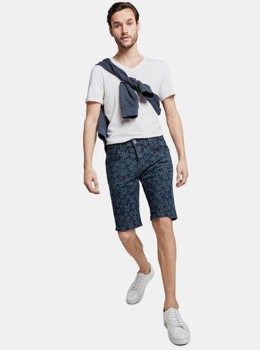 Tmavě modré pánské vzorované džínové kraťasy Tom Tailor