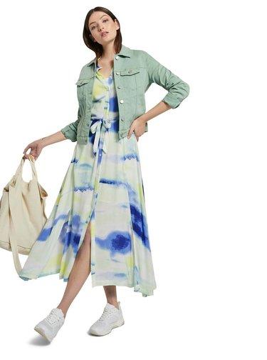 Modro-bílé dámské košilové maxišaty Tom Tailor Denim