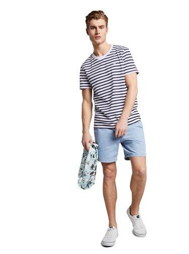 Tricouri pentru barbati Tom Tailor Denim - alb, albastru inchis