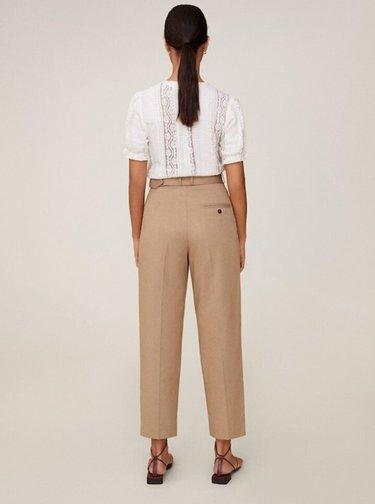 Hnědé zkrácené kalhoty Mango Cesi