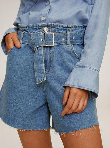 Modré džínové kraťasy s páskem Mango Soft