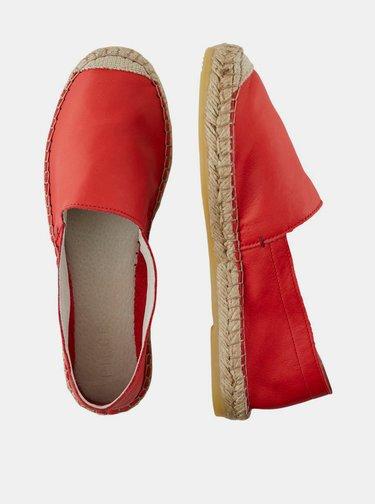 Červené kožené espadrilky Pieces Katie