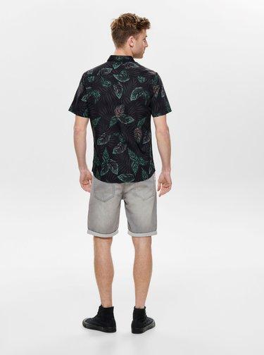 Černá vzorovaná košile ONLY & SONS Timothy