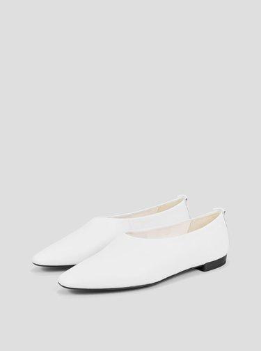 Biele dámske kožené baleríny Vagabond