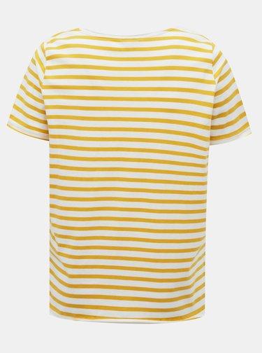 Bílo-žluté pruhované basic tričko ONLY CARMAKOMA Life