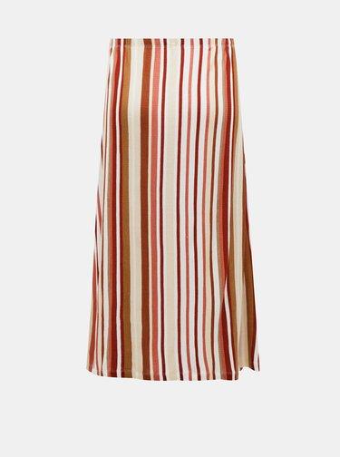 Hnedo-krémová pruhovaná midi sukňa ONLY Louisa