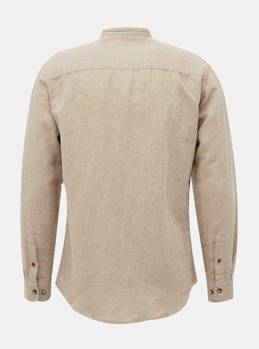 Béžová ľanová košeľa so stojáčikom Jack & Jones Donald