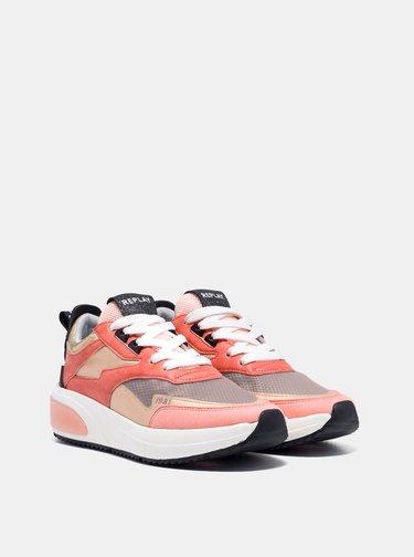 Ružové dámske tenisky na platforme Replay