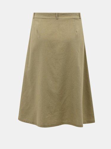 Khaki sukně s příměsí lnu ONLY Adeline