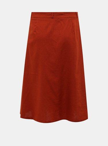 Tehlová sukňa s prímesou ľanu ONLY Adeline