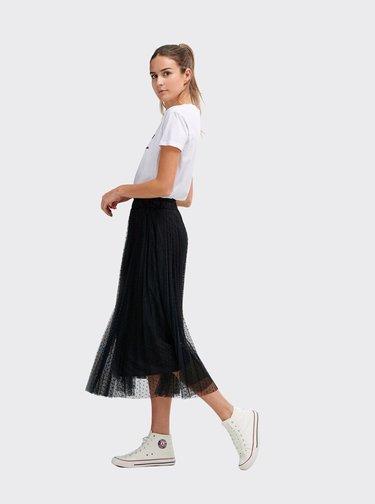 Čierna bodkovaná plisovaná midi sukňa Alcott