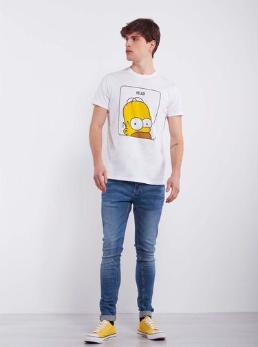 Biele pánske tričko Alcott Homer Simpson