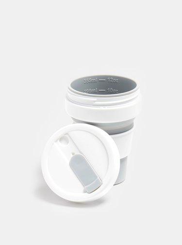Bielo-šedý cestovný skladací hrnček Stojo 355 ml