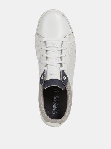 Biele pánske kožené tenisky Geox Warrens