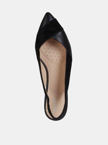 Čierne dámske kožené baleríny Geox Charyssa