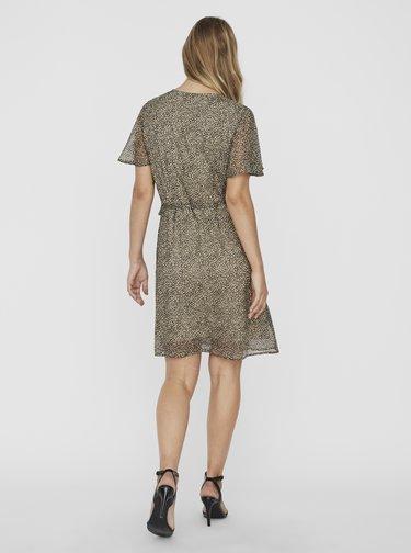 Béžové vzorované zavinovací šaty VERO MODA Kay