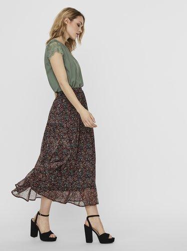 Vínovo-černá vzorovaná maxi sukně VERO MODA Kay