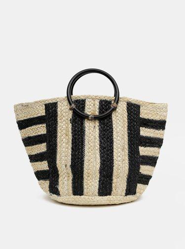 Čierno-hnedá jutová taška Pieces Arilla