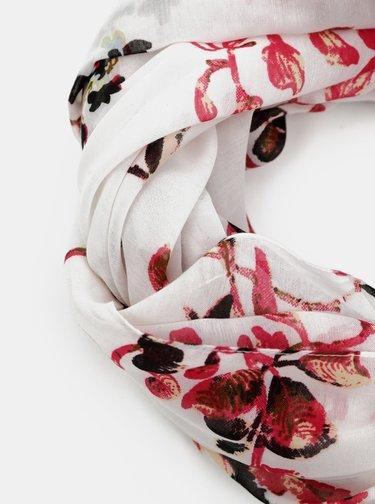 Červeno-bílý květovaný šátek Pieces Mary