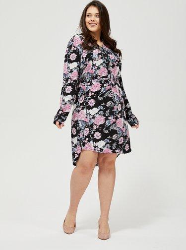 Ružovo-čierne kvetované šaty Moodo