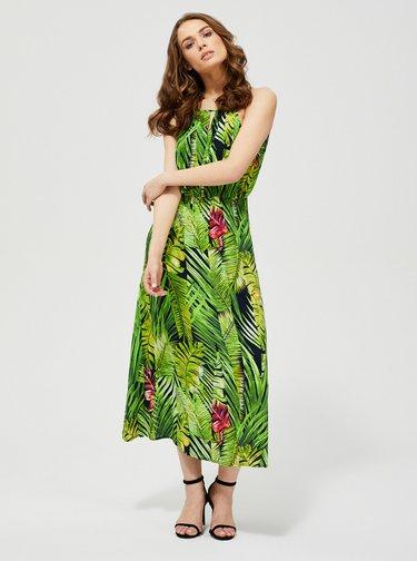 Zelené vzorované maxišaty Moodo