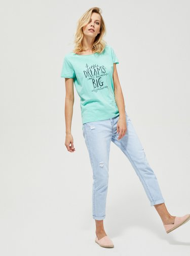 Tyrkysové  tričko s potlačou Moodo
