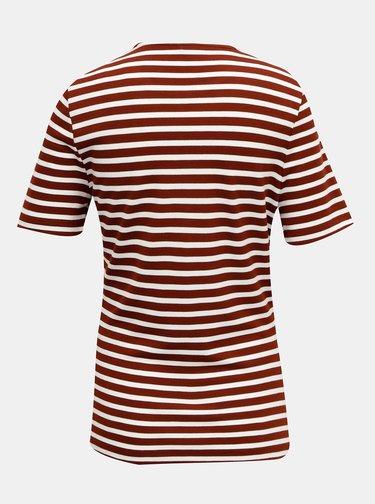 Hnědé pruhované tričko ONLY Laila