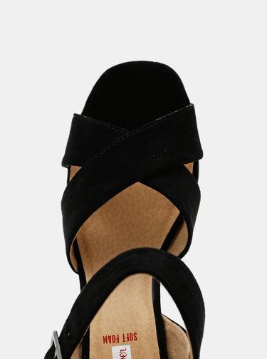 Černé dámské sandály v semišové úpravě s.Oliver