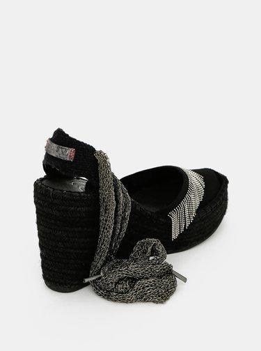 Čierne sandálky na plnom podpätku Replay