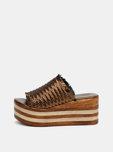 Hnědé dámské pantofle na platformě Replay