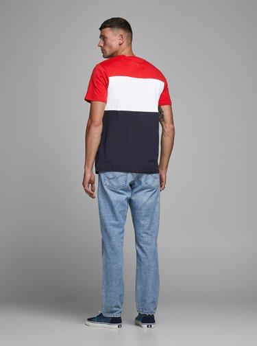 Červeno-modré tričko Jack & Jones Logo